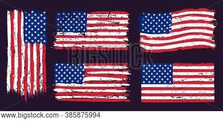 Usa American Grunge Flag. Us Flags Graphic Design With Stars And Stripes And Grunge Texture. T-shirt