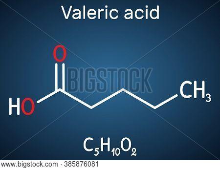 Valeric Acid, Pentanoic Acid Or Valerate Molecule. Structural Chemical Formula On The Dark Blue Back