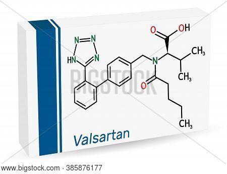 Valsartan Molecule. It Is Used To Treat High Blood Pressure, Heart Failure. Paper Packaging For Drug