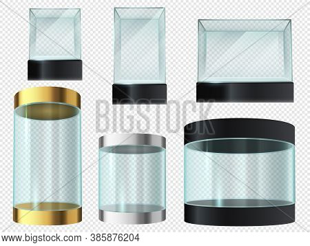 Glass Showcase. Cylinder And Cube Empty Transparent Museum Podiums, Product 3d Display, Exhibit Secu
