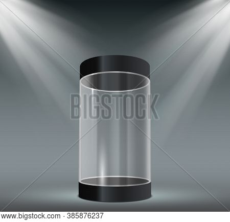 Glass Cylinder Showcase. Transparent Plastic Case, Empty Product Or Museum Display With Spotlights.