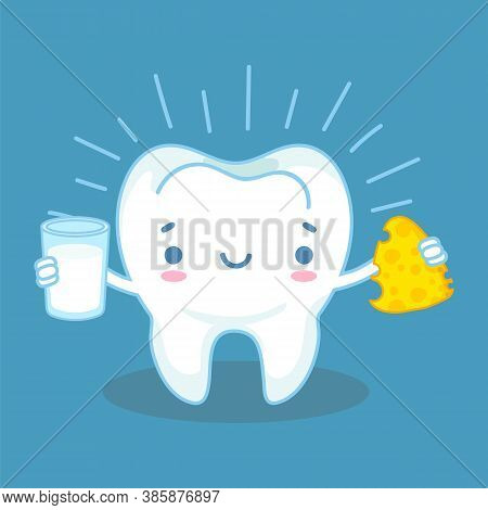 Teeth And Calcium. Healthy Tooth And Milk Products With High Calcium, Friendly Cheese And Milk, Prev