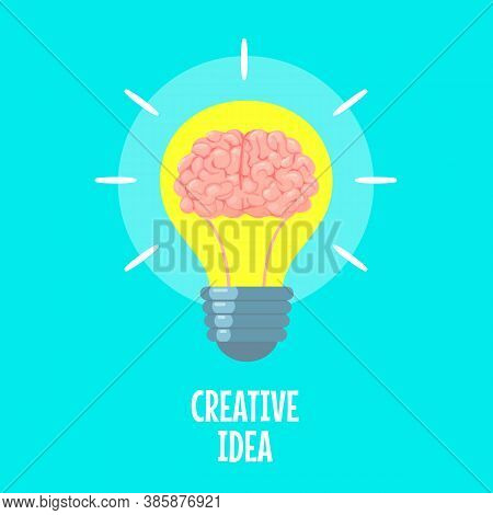 Brain In Light Bulb. Creative Idea Metaphor, Conceptual Strategy. Brainstorm, Innovation Solution Ic