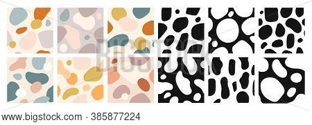 Organic Shapes Seamless Pattern. Abstract Art Color Watercolor Paint Blobs. Expressive Vector Wallpa
