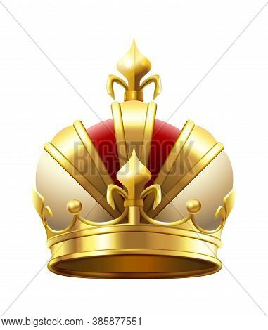 Realistic Royal Crown. Classic King Or Prince Golden Accessory For Coronation. Luxury Authority Logo