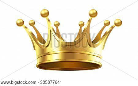 Realistic Gold Crown For Royal Family Members. Accessory For Monarch Luxury Coronation Ceremony. Rea