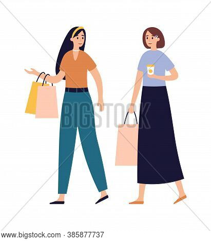 Women Friends Shopping Together. Girls Talking And Walking With Shopping Bags And Drinking Coffee In