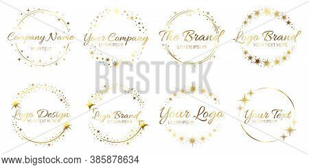 Stardust Golden Logo Set. Shiny Circle Frames With Stars And Glowing Glitter. Round Border For Compa
