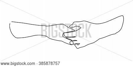Continuous Line Drawing Of Hands Holding Together. Continuous Single Non-painted One-line Intertwine