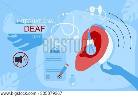International Deaf Day Vector Website Template.ear With Hearing Aid,aerophone.hearing Disability Con