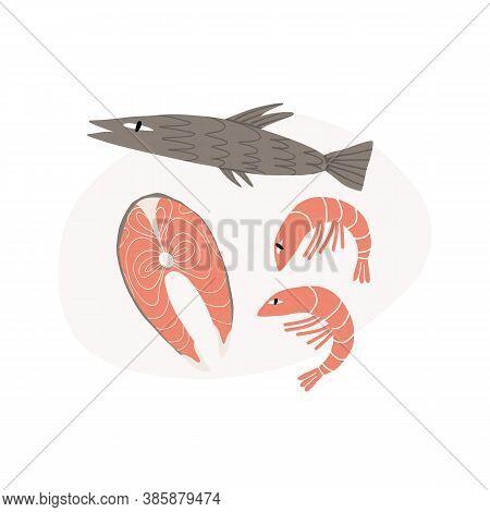 Seafood And Fish Cute Hand-drawn Set. Sardine, Pink Salmon Steak And Shrimps. Vector Illustration.