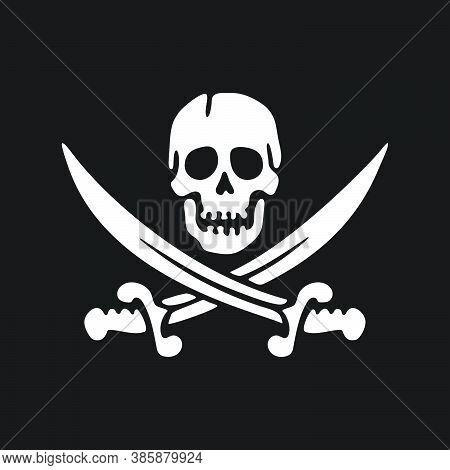 Jolly Roger Emblem. Skull And Sabers. Design Element. Vector Illustration