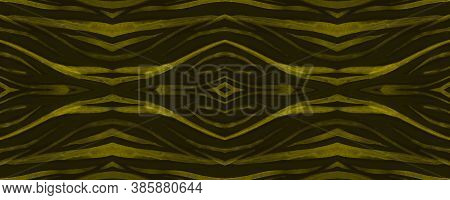 Seamless Safari Ornament. Fashion Cheetah Texture. Golden Zebra Skin Design. Watercolor Lines. Wild