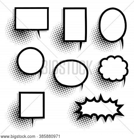 Collection Set Of Cute Hand Drawn Pop Art Polka Dots Halftone, Blank Speech Bubble Balloon Circle An