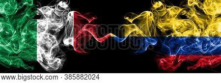Italy Vs Colombia, Colombian Smoky Mystic Flags Placed Side By Side. Thick Colored Silky Abstract Sm