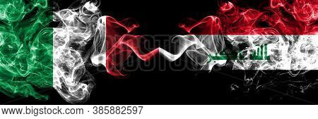 Italy Vs Iraq, Iraqi Smoky Mystic Flags Placed Side By Side. Thick Colored Silky Abstract Smoke Flag