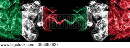Italy Vs Italy, Italian Smoky Mystic Flags Placed Side By Side. Thick Colored Silky Abstract Smoke F
