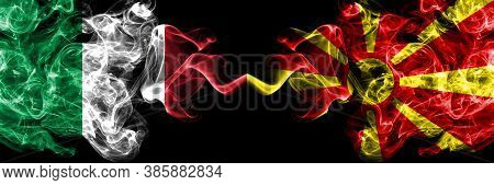 Italy Vs Macedonia, Macedonian Smoky Mystic Flags Placed Side By Side. Thick Colored Silky Abstract