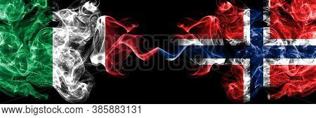 Italy Vs Norway, Norwegian Smoky Mystic Flags Placed Side By Side. Thick Colored Silky Abstract Smok