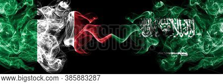 Italy Vs Saudi Arabia, Arabian Smoky Mystic Flags Placed Side By Side. Thick Colored Silky Abstract