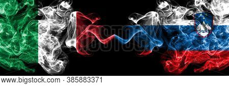 Italy Vs Slovenia, Slovenian Smoky Mystic Flags Placed Side By Side. Thick Colored Silky Abstract Sm
