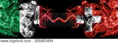 Italy Vs Switzerland, Swiss Smoky Mystic Flags Placed Side By Side. Thick Colored Silky Abstract Smo