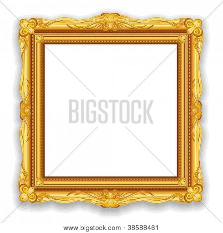 Gold Vintage Frame. Decorative Vector Frame with Place for Text, Picture or Design poster