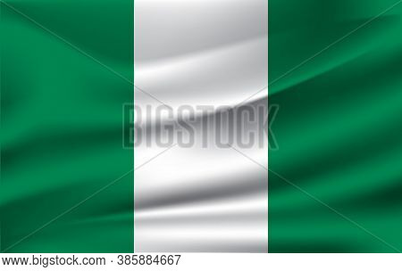 Flag Of Nigeria. Realistic Waving Flag Of Federal Republic Of Nigeria. Fabric Textured Flowing Flag