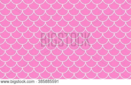 Mermaid Pattern, Fish Scale Pattern Art Line On Pink Background, Mermaid Tail Pattern Line Art For D