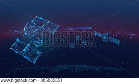 3d Satellites Polygonal Art Illustration. Wireless Satellite Technology, Communication Or Network Co