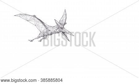 Abstract Flying Pterodactylus Dinosaur In White Background. Polygonal Sketch 3d Illustration Of Pter