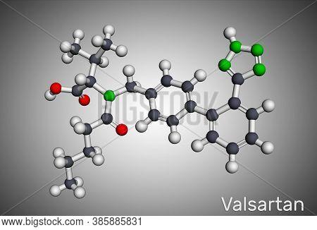 Valsartan Molecule. It Is Used To Treat High Blood Pressure, Heart Failure. Molecular Model. 3d Rend