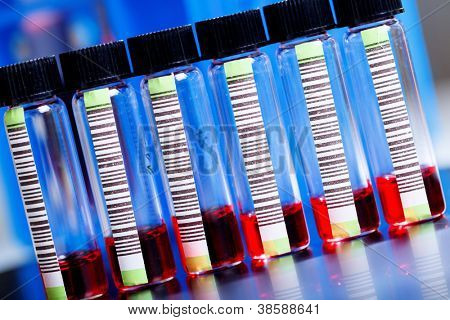 Blood samples in a test tube with barcode