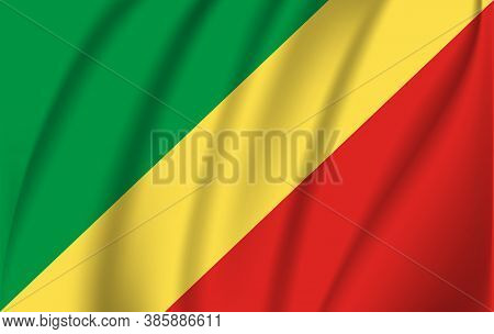 Flag Of Congo. Realistic Waving Flag Of Republic Of The Congo. Fabric Textured Flowing Flag Of Congo