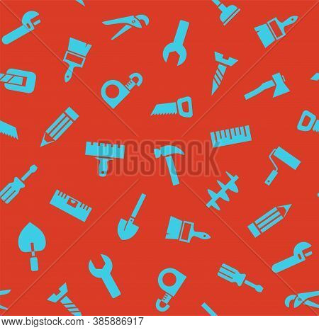 Hand Tools, Construction, Seamless Pattern, Color, Red. Blue Icons On A Red Field. Colored Flat Back