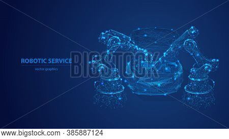 Abstract Robotic Arm And Robotic Tool Repairing A Car In Blue Background. Digital Low Poly Robotic S