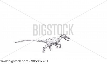 Abstract 3d Velociraptor With Open Mouth Isolated In White Background. Hand Drawing Of Small Fast Di
