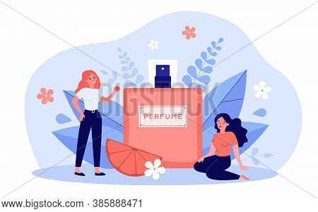 Women Enjoying Perfume Smelling, Sitting And Standing Near Spray Flask Of Deodorant With Flower Frag