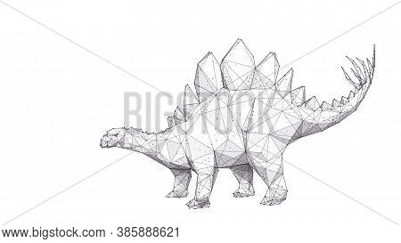 Abstract Huge 3d Stegosaurus With Plates And Spikes Isolated In White Background. Low Poly Stegosaur