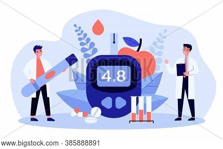 Glucose Level And Diabetes Concept. Doctors With Glucometer And Lab Tubes Checking Blood For Sugar.