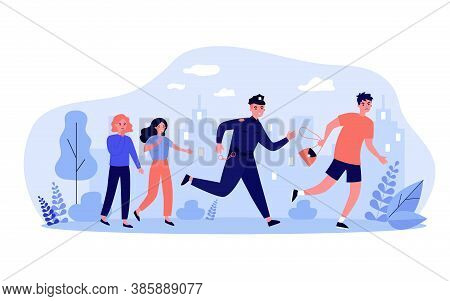 Police Officer Pursuing Thief For Arrest. Male Offender Stealing Bag From Women. Vector Illustration