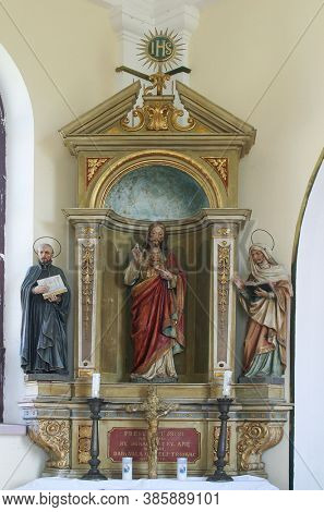 VRTACE, CROATIA - MAY 02, 2013: Altar of the Sacred Heart of Jesus at Holy Spirit Chapel in Vrtace, Croatia