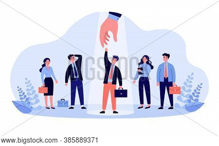 Professional Selection Concept. Employer Choosing Candidate And Giving Hand To Employee Under Spotli