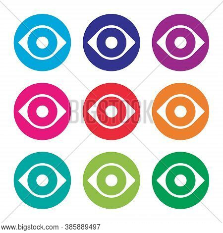 Eye Vector Icon Set. Optic Eyesight And Look Symbol Collection. View Or Watch Sign. Optician Logo. I
