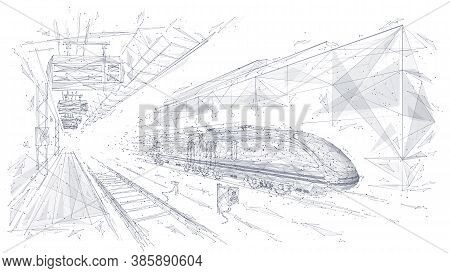 Abstract Low Poly 3d Wireframe Of Modern Train At Railway Station Or Metro. Vector Sketch Drawing Wi