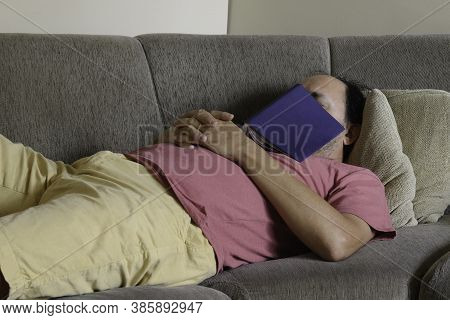 Middle-aged Man Sleeping On Sofa And Book Over Him