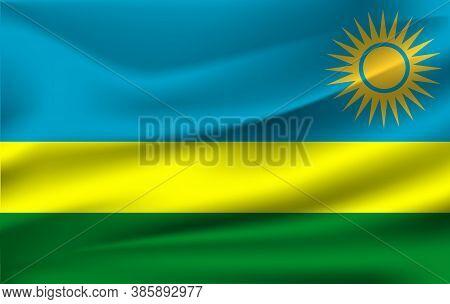 Flag Of Rwanda. Realistic Waving Flag Of Rwanda. Fabric Textured Flowing Flag Of Rwanda.