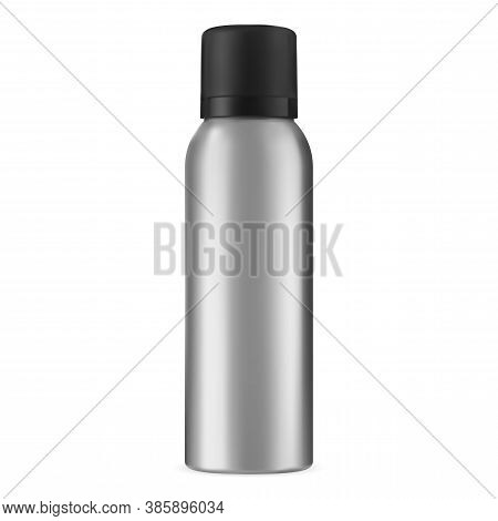 Spray Tin Mockup. Hairspray Aerosol Aluminum Can Blank. Deodorant Cylinder Bottle Isolated. Aluminiu