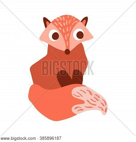 Cute Cartoon Fox In Simple Naive Style. Sitting Woodland Animal With Big Eyes Isolated On White Back
