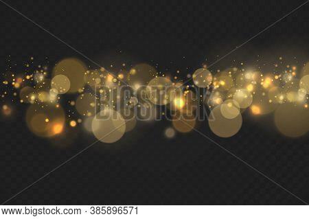 Sparkling Golden Magic Dust Particles Bokeh On Transparent Background, Christmas Sparkle Light Effec